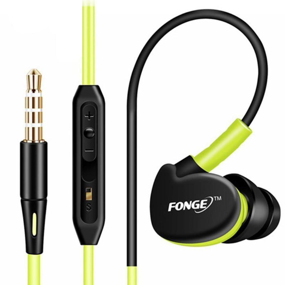 IPX5 Sweat and Water Resistant Sport Ear Hook Headphones W/ Mic - Yellow