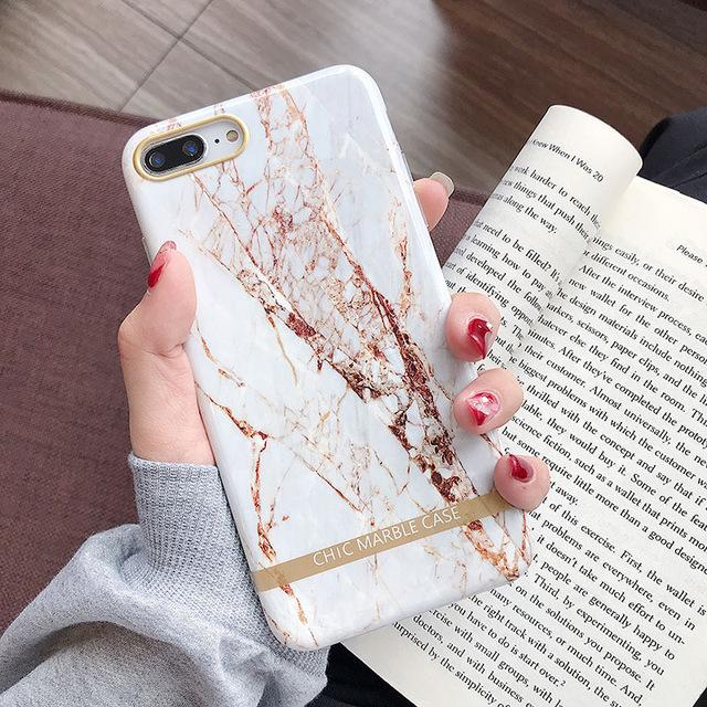 Marble Gold Phone Case For iPhone 11 Pro Max Through 6