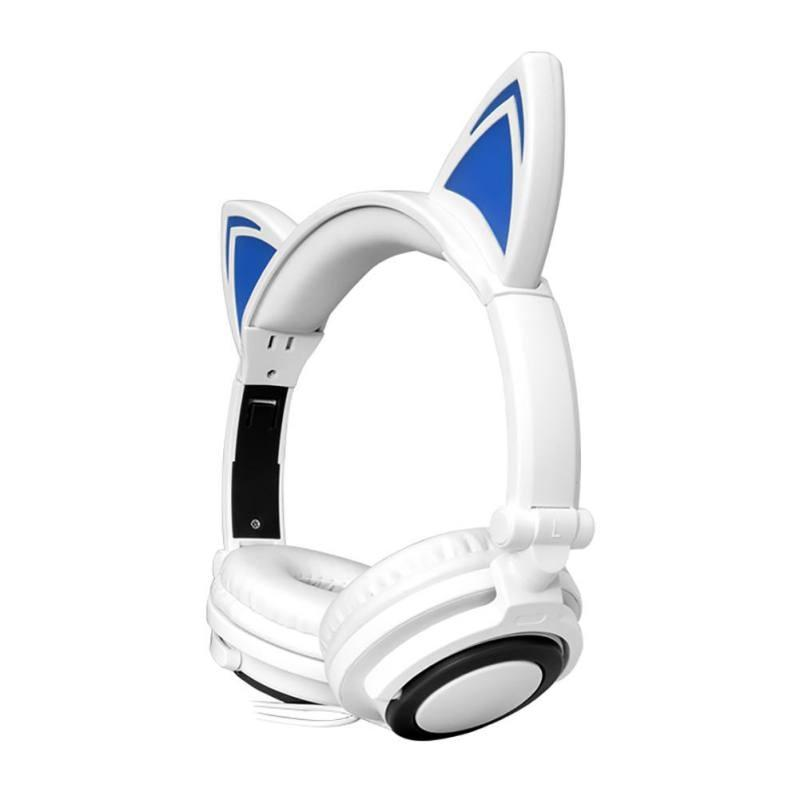 Foldable Cat Ears Headphones LED Phone Music Mp3 Player Multi-Color