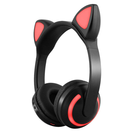 Cute Cat Wireless Headphones W/7 LED Colors Cycle