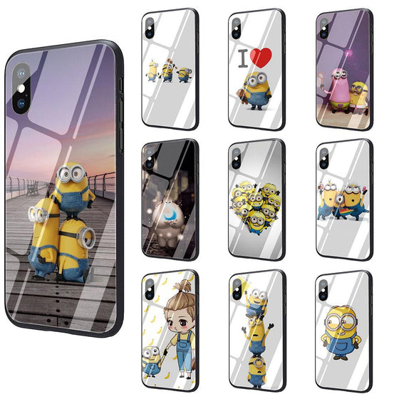 Minions Tempered Glass TPU iPhone Case 7-11 Pro Max