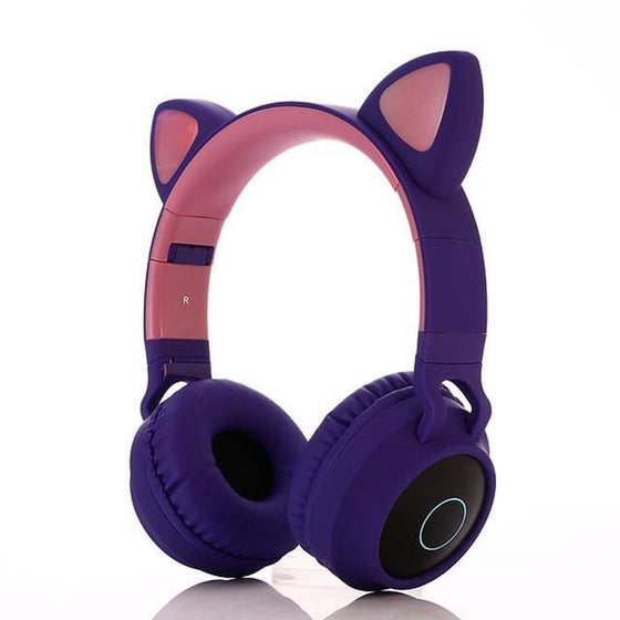 Glowing Cute Cat Ear Bluetooth 5.0 Wireless Flashing Color Headphones