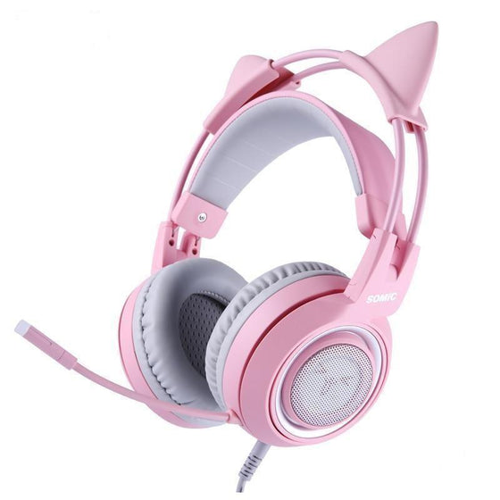 Pink Cat Wired Headphones Gaming Headset with Mic
