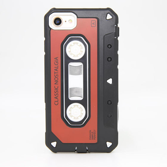 Vintage Retro 3D Cassette iPhone Case For 7 7+ 8 8+ Dual Layer Rubber