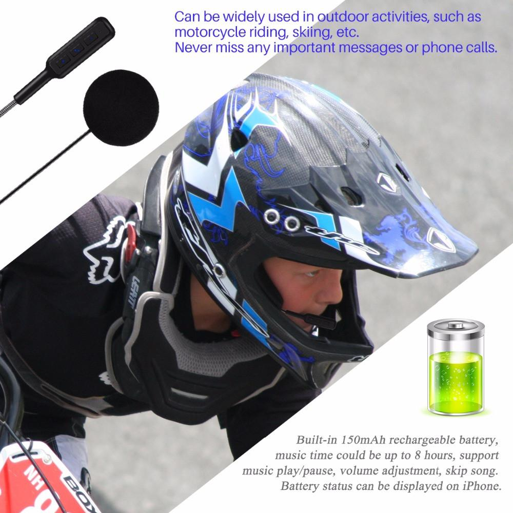 Helmet Wireless Bluetooth Microphone Headset Earphone - Rechargeable Battery