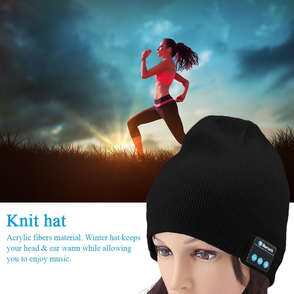 Knit Winter Sports Hat Bluetooth Wireless Earphones Built in Stereo Answer Calls for iPhone Samsung - Washable Knit Hat