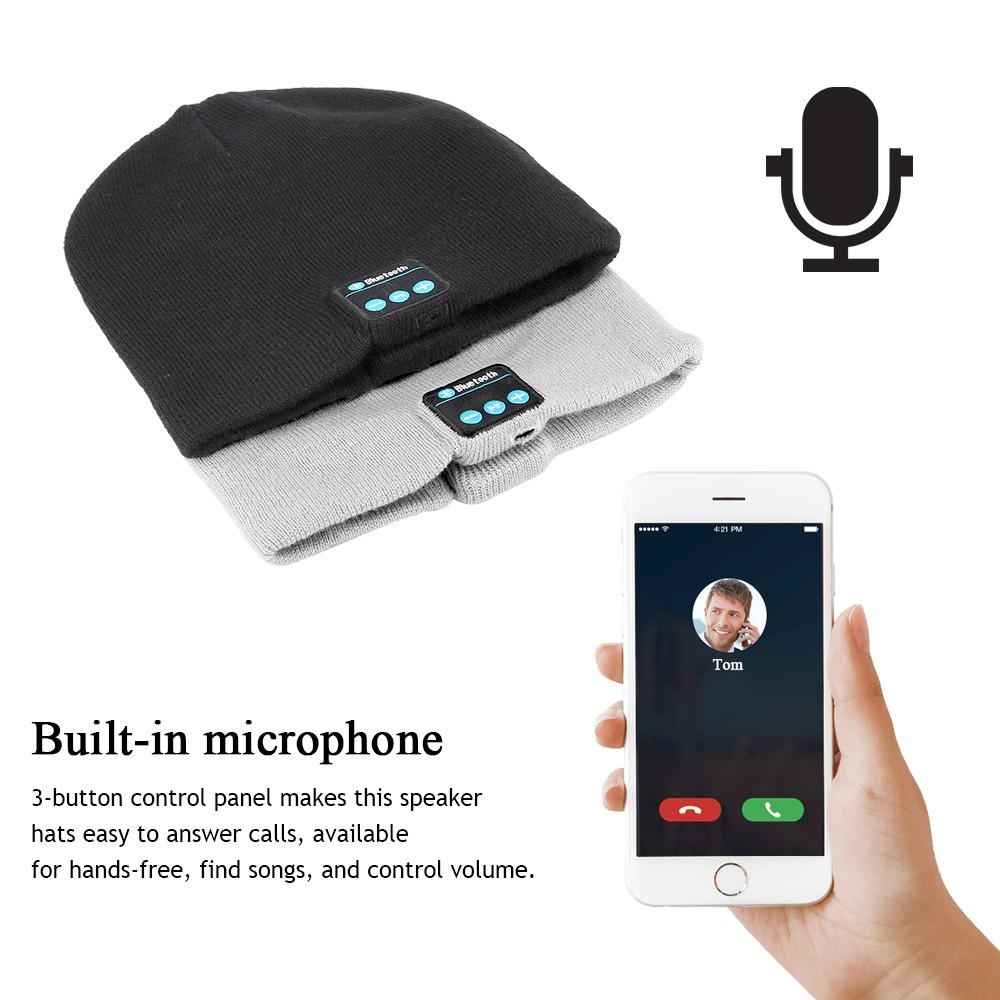 Knit Winter Sports Hat Bluetooth Wireless Earphones Built in Stereo Answer Calls for iPhone Samsung - Built In Microphone