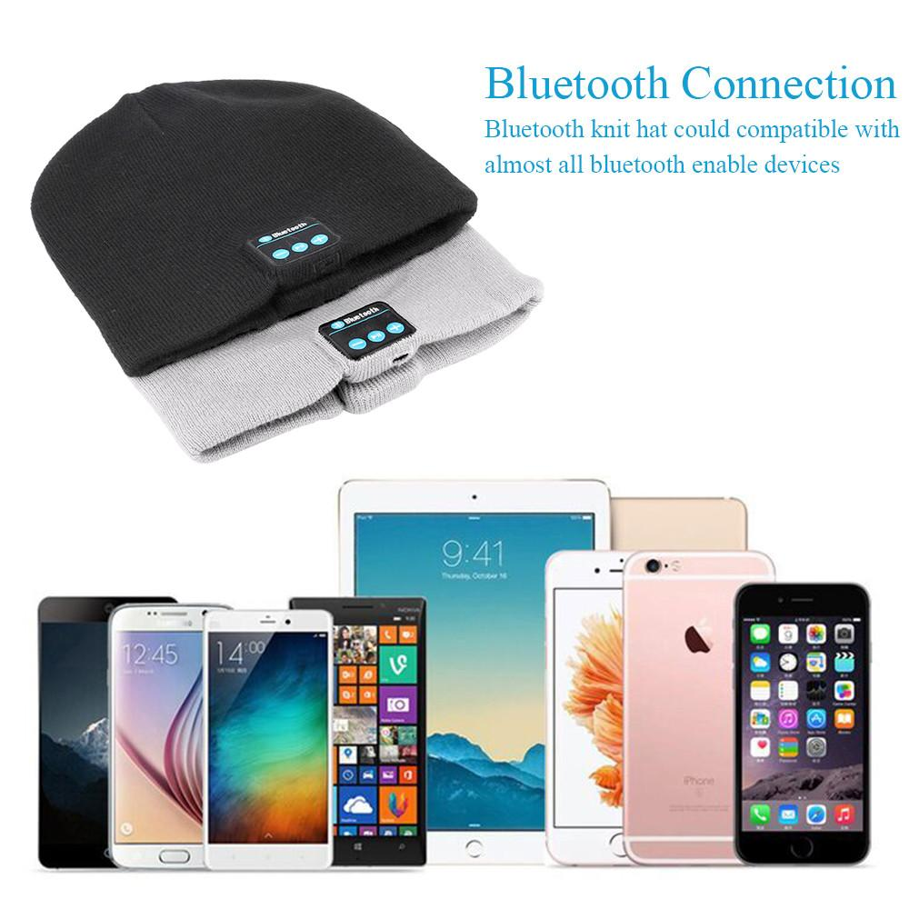 Knit Winter Sports Hat Bluetooth Wireless Earphones Built in Stereo Answer Calls for iPhone Samsung - Bluetooth Connection