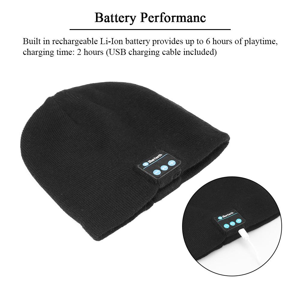 Knit Winter Sports Hat Bluetooth Wireless Earphones Built in Stereo Answer Calls for iPhone Samsung - Battery Performance