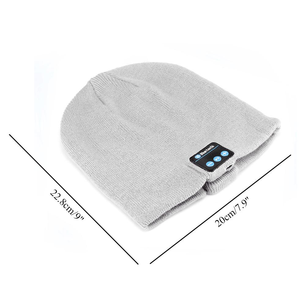 Knit Winter Sports Hat Bluetooth Wireless Earphones Built in Stereo Answer Calls for iPhone Samsung - Dimensions