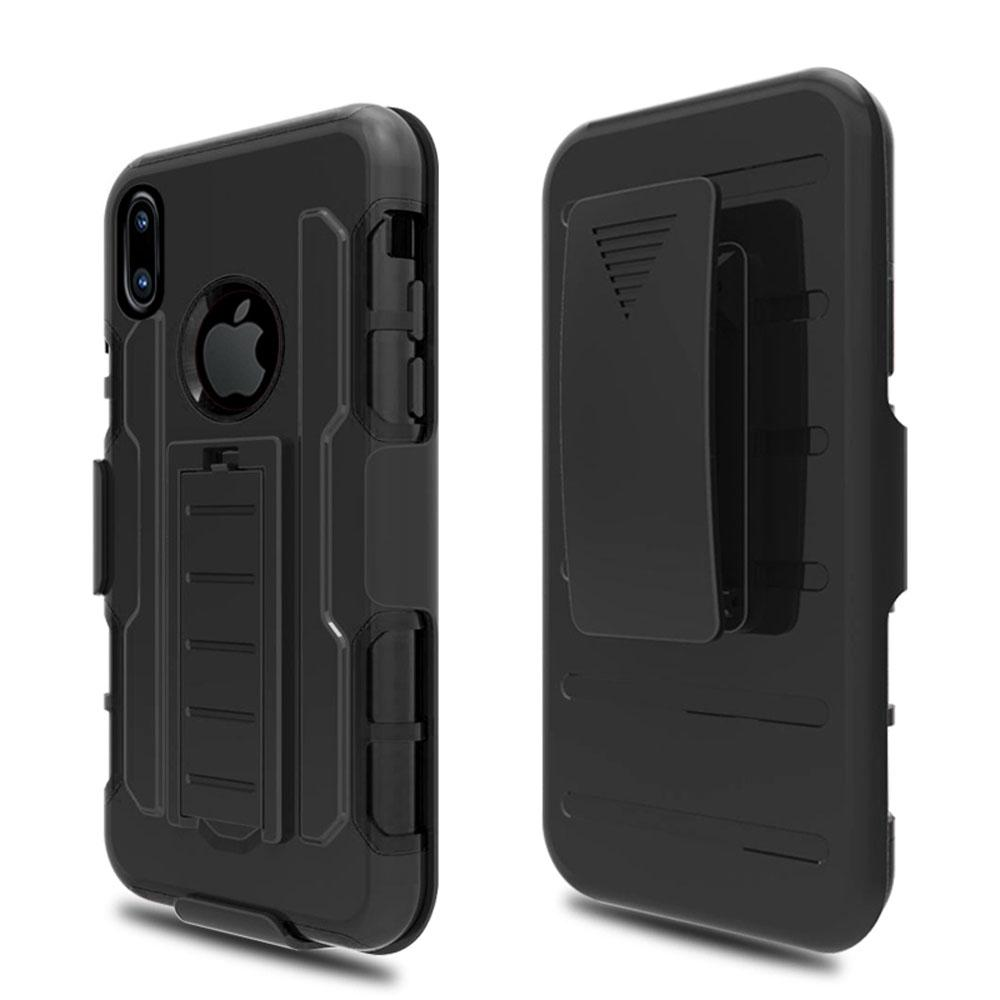 iPhone X Anti Shock Protective Rugged Case W/ Swivel Clip & Kickstand