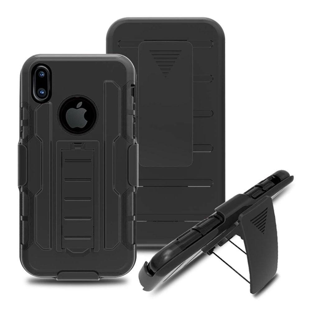 iPhone X Anti Shock Protective Rugged Case W/ Swivel Clip & Kickstand - View