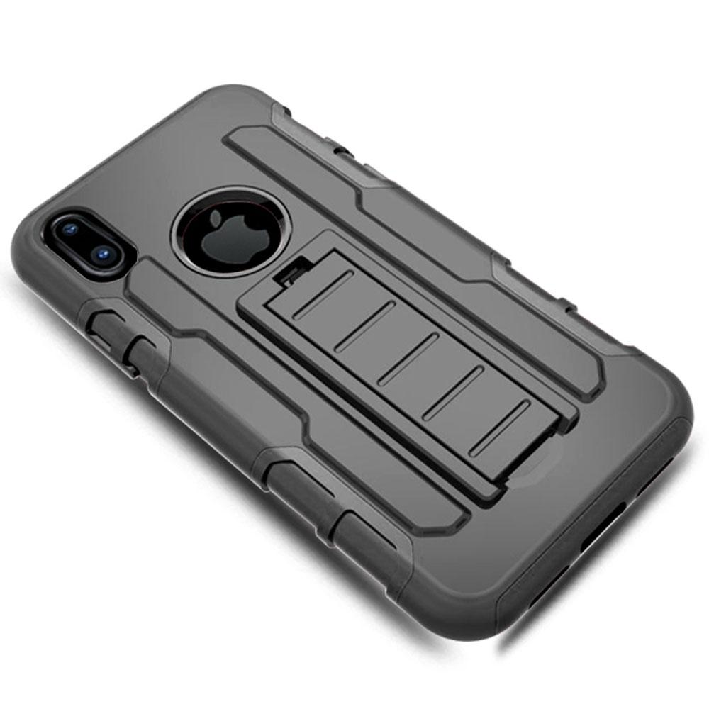 iPhone X Anti Shock Protective Rugged Case W/ Swivel Clip & Kickstand - Top View