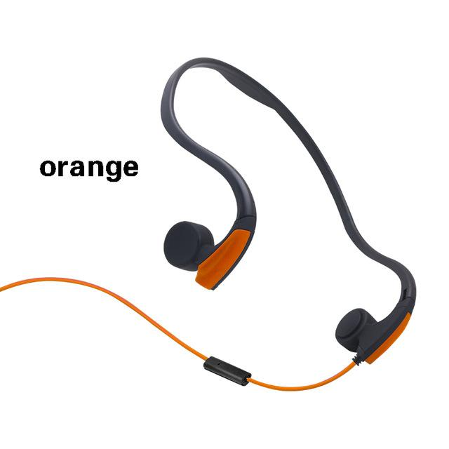 IPX4 Wired Bone Conduction Headset Noise Reduction Hands-free With Mic-Orange