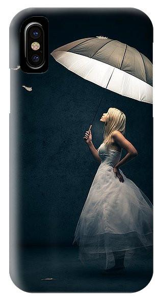 Girl With Umbrella And Falling Feathers IPhone Samsung Galaxy Case