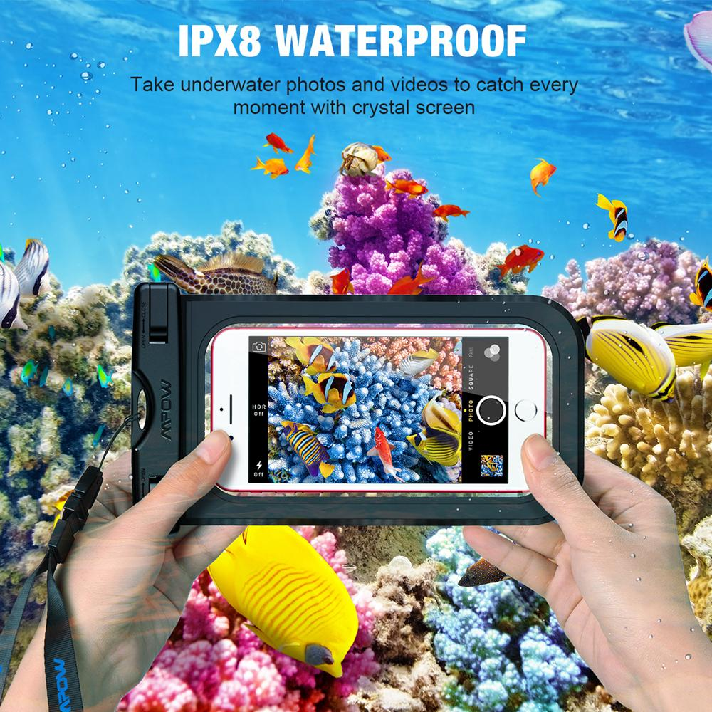 IPX8 Waterproof 6'' Cell Phone Cases 2pc Dry Bag Swimming Diving Pouch Ocean