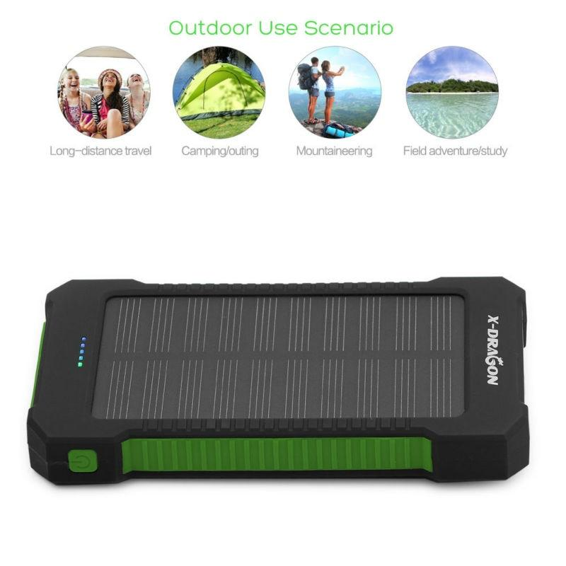 Emergency Cell Phone Solar Charger 10000mAh Portable Power Bank