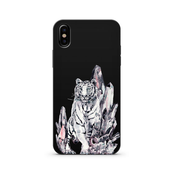 White Siberian Tiger on Black Wood Printed Case iPhone Samsung