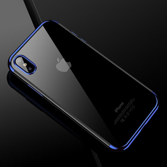 iPhone X 10 Transparent Silicone Cell Phone Case TPU Back Shell-Blue