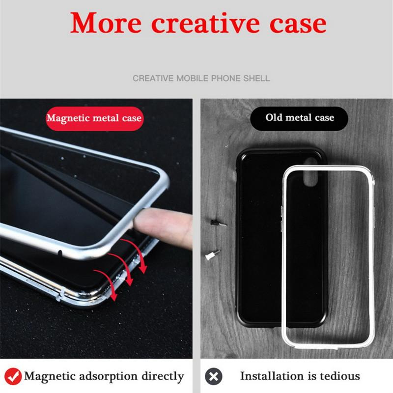 Metal Tempered Glass Back Magnet Cases for iPhone XR XS MAX X 8 7 6 6S