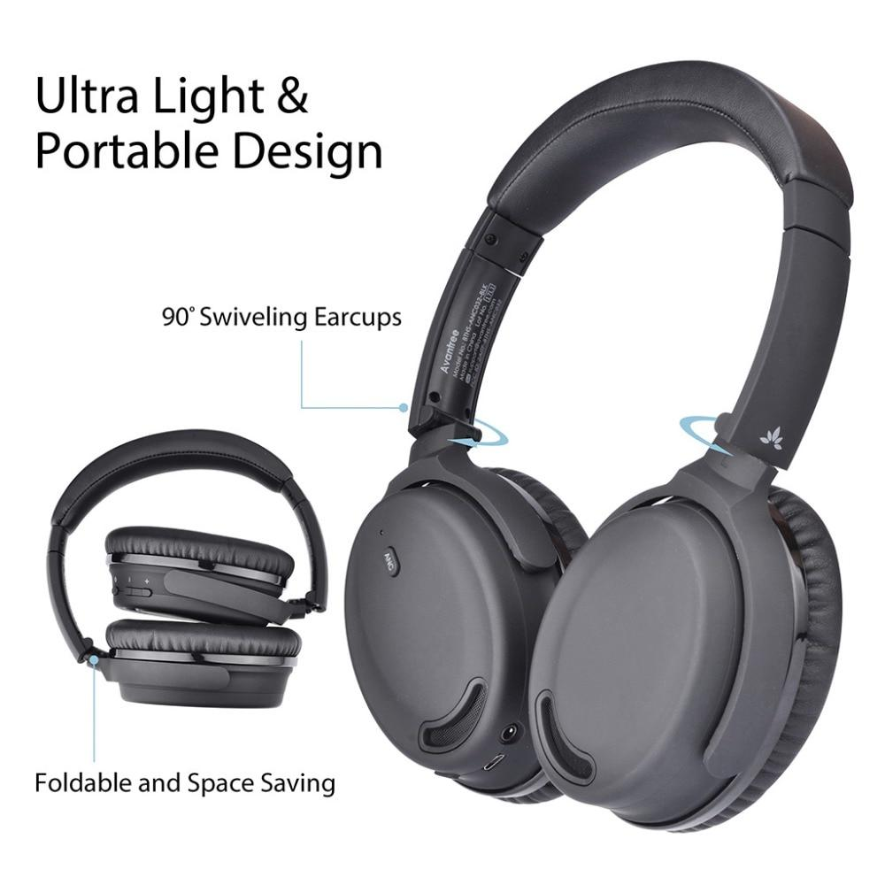 ANC Over Ear Wireless-Wired Foldable Bluetooth 4.1 Headphones W/Mic