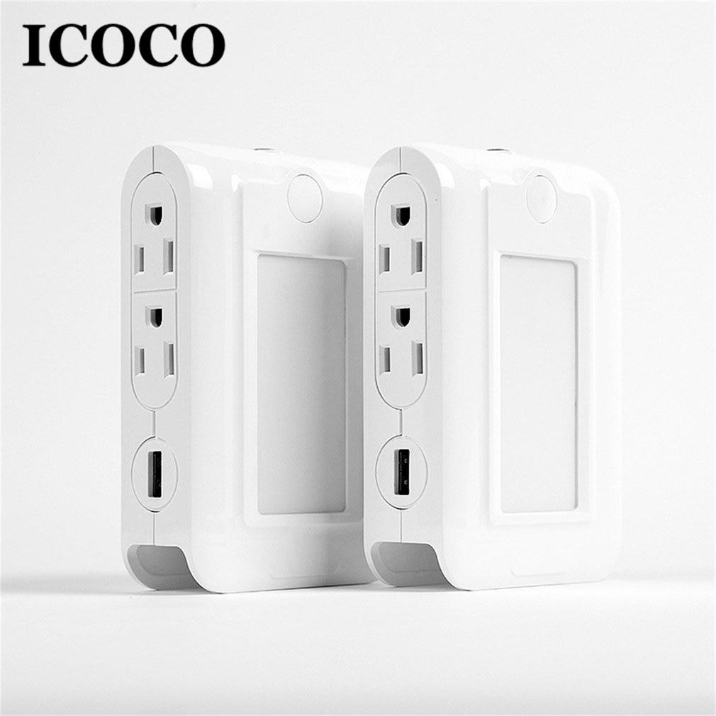 USB Charger Port Wall Socket Smart LED Multi-Function Night Light