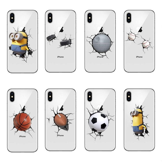 Wall Crashing Minions iPhone Cases For XS XS MAX XR X 8 8+7 7+