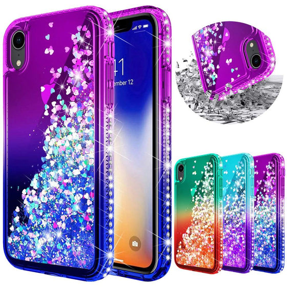 Luxury Diamond Quicksand Liquid Glitter Case For iPhone X XR XS Max