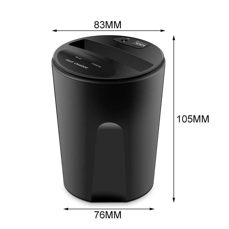 10W QI Car Wireless Cup Charger USB iPhone XS MAX XR X 8 Samsung S10 9