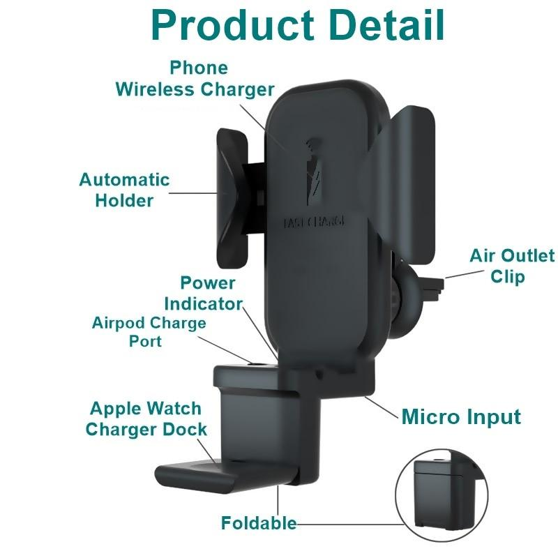 Qi Wireless Car Charger Charges iPhone Apple Watch AirPods Together