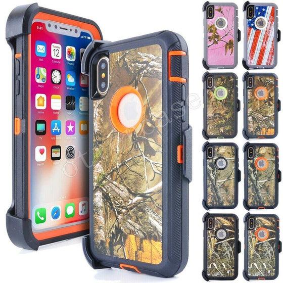 Camo iPhone Case For XS XS MAX XR X 8 8+7 7+ W/WO Belt Clip