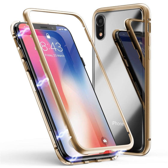 iPhone XR Tempered Glass Metal Bumper Frame Case