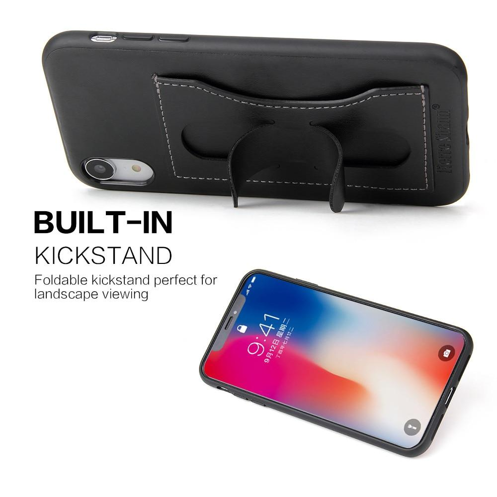 Genuine Leather iPhone XR Case With Slim Card Slot & Kickstand