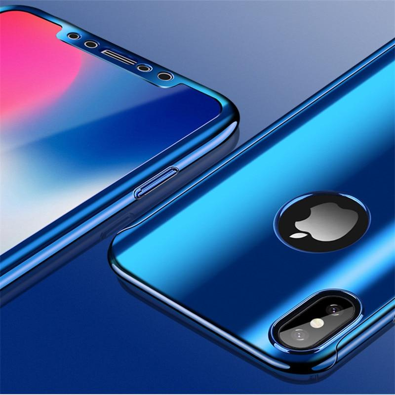 Full Coverage Plated Mirror Case iPhone XS/XS Max XR/X Tempered Glass