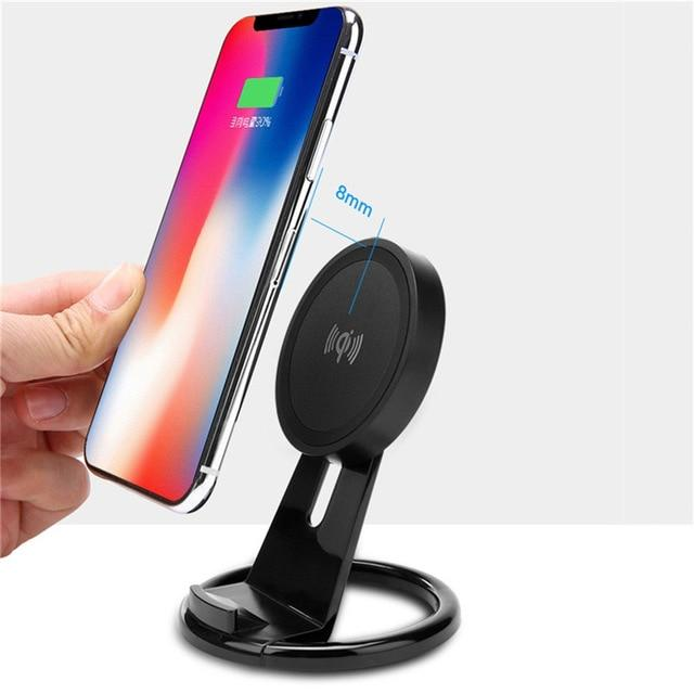 "3.3"" Tall Small Space QI Wireless Charging Stand For iPhone Samsung"