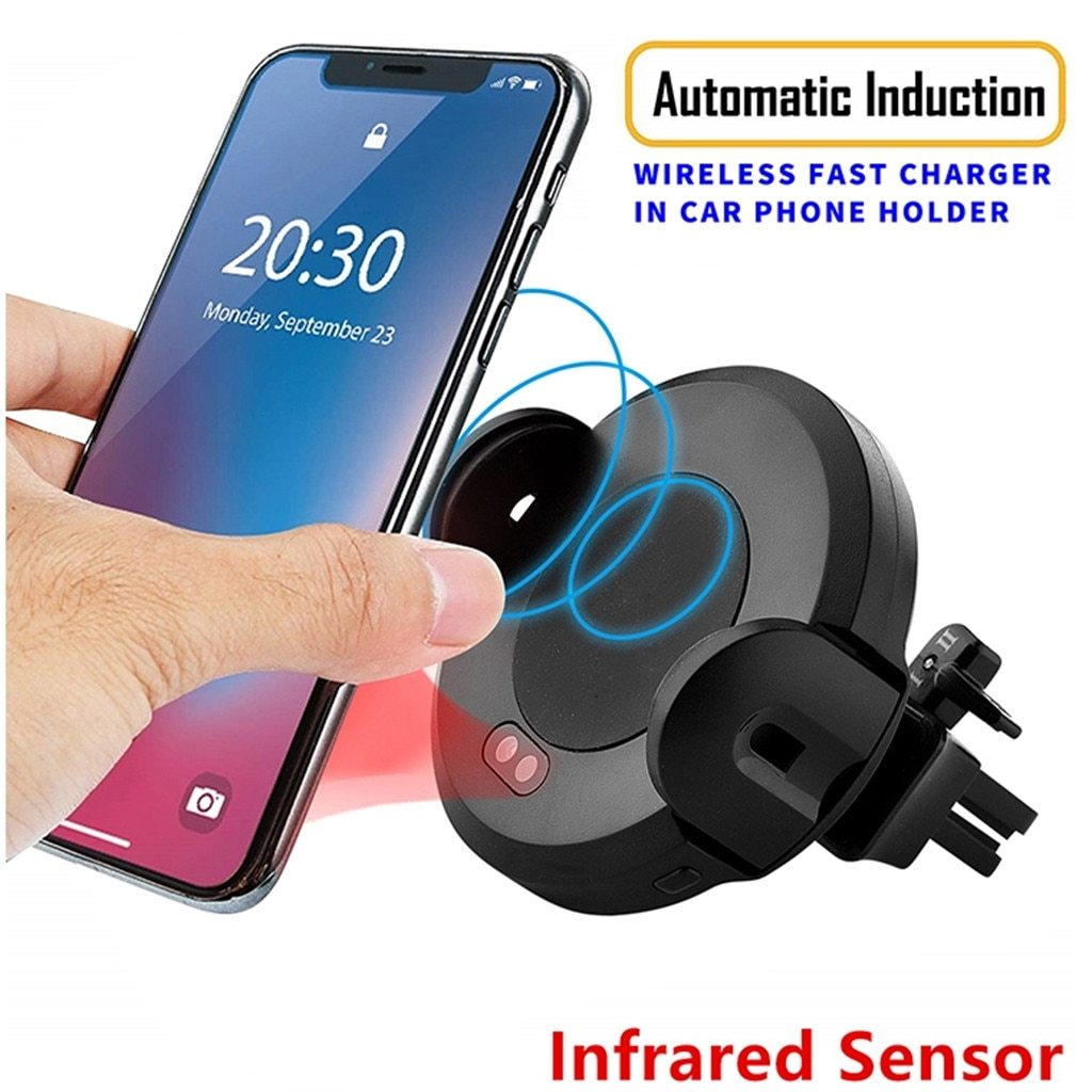 Auto Opening Infrared 15W Wireless Car Charger Intelligent Dock Cradle-Infrared Sensor