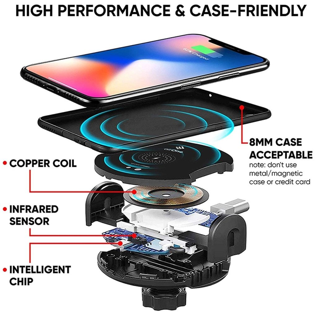 Auto Opening Infrared 15W Wireless Car Charger Intelligent Dock Cradle