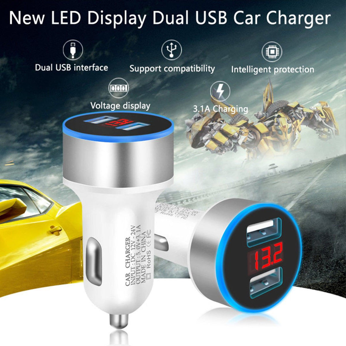 2 Port USB LCD Display Fast Cigarette Car Charger 3.1A Dual 12-24V