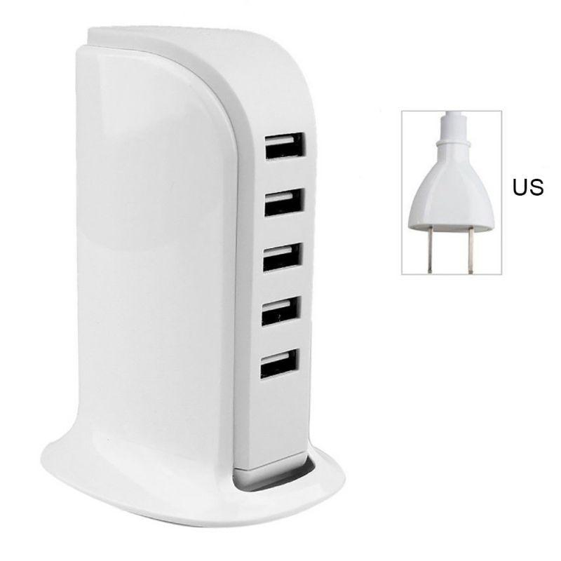 5 Ports USB Cell Phone Fast Charger Station EU US Plug