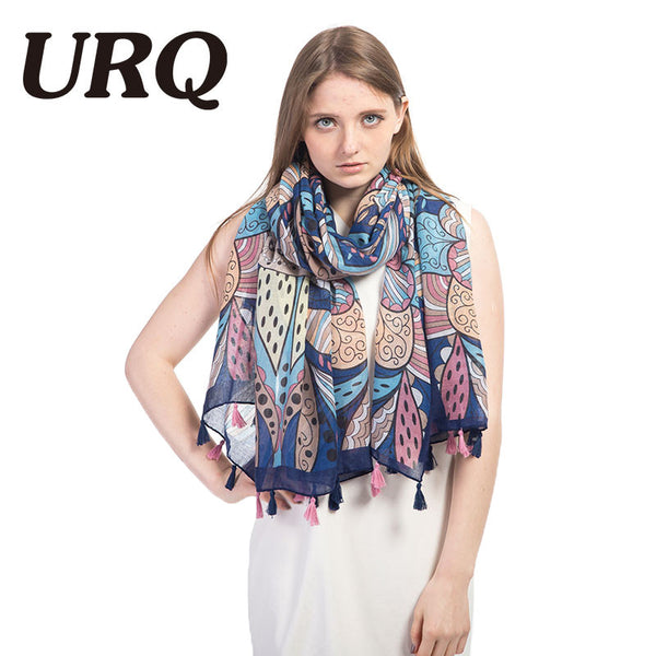 Tassel Scarf Abstract Floral Design