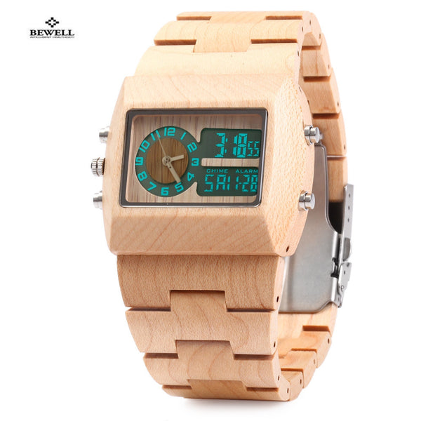 BEWELL Dual Analog and Digital Wood Watches - 5 Colors