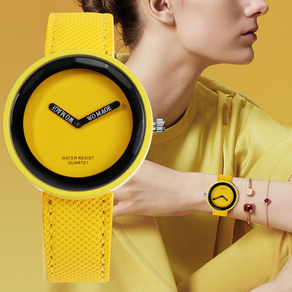 Modern Minimalist Bold Color Leather Watches - 10 Colors
