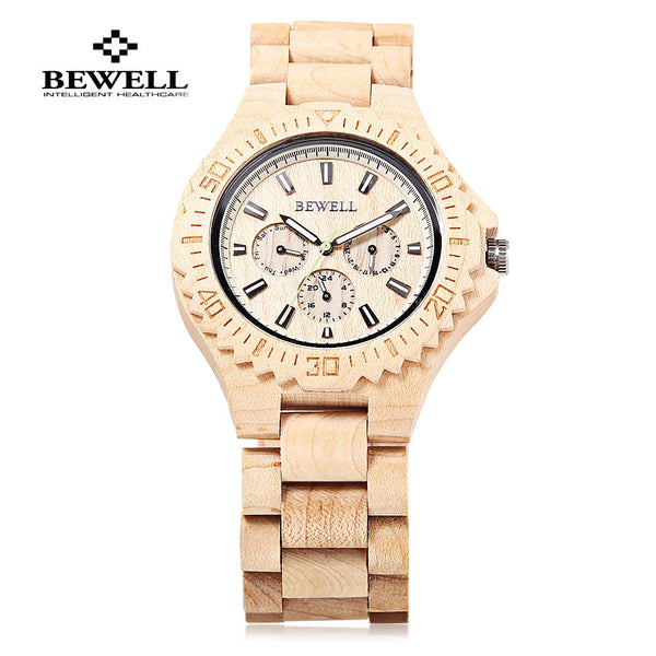 BEWELL Natural Multifunction Wood Watches - 3 Colors