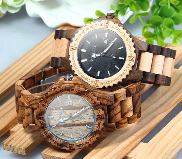 BEWELL Luxury Round Wood Watches - 4 Colors