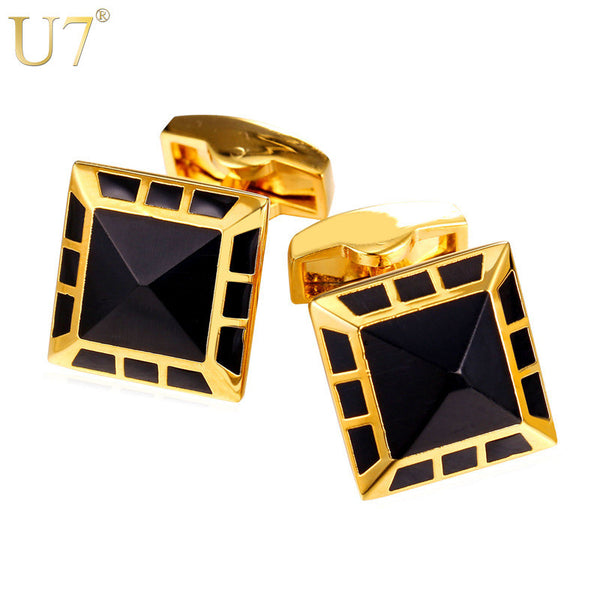 U7 Black Enamel Square Cufflinks with box