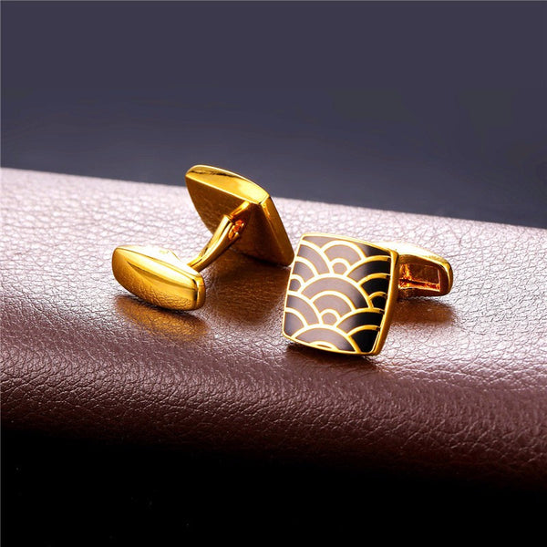 U7 Vintage Black Enamel Cloud Square Cufflinks with box