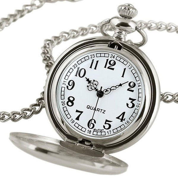 Classic Silver Steampunk Pocket Watch Gift Set