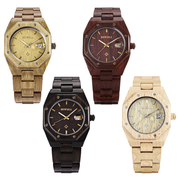 BEWELL Octagon Watch-Frame Vintage Wood Watches - 4 Colors