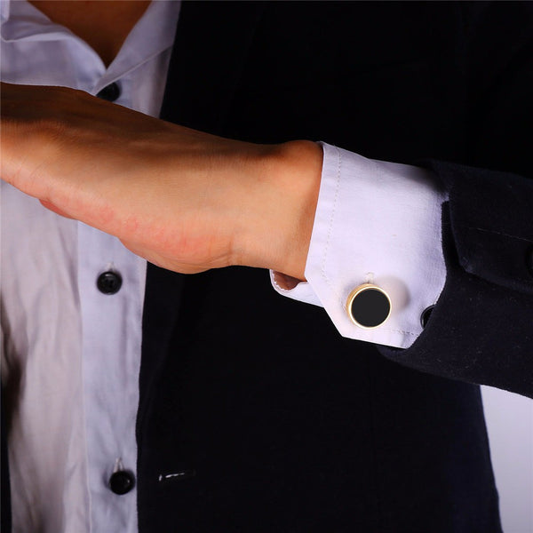 U7 Black Enamel Round Cufflinks with box