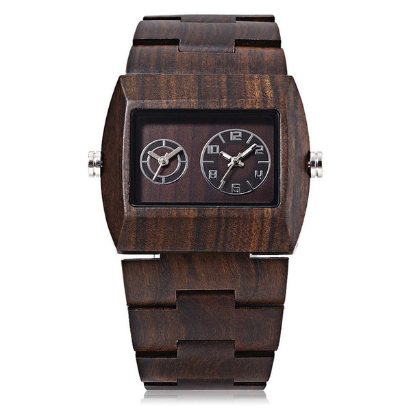 BEWELL Unique Two Dials Display Wood Watches - 4 Colors
